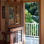 Dutch Doors - Custom dutch doors in Padauk wood with beautiful leaded glass detail.