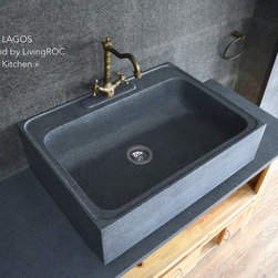 """Living'ROC - 30 x 22"""" Apron Genuine Gray Granite Stone Kitchen sink - LAGOS - Do you dream of a luxurious kitchen? Discover the creation of LAGOS- 30' x 22' x 8'- genuine high-end kitchen decoration in trendy gray granite. With its large single tank and ergonomic design slightly inclined as to not hold water. The 'Exceptional' cut in the block without any comparison with plastic cast iron fireclay stainless steel and other chemical resin often unaffordable. You will definitely not let anyone feel indifferent with this 100% natural stone unique in the US and exclusively available on Living'ROC.net and directly inspired from our French trendy range. The sink has been designed to last a very long time giving you a great level of resistance and easy maintenance. Doubly waterproofed with our care our sink is ready to use can be installed on a piece of furniture or to integrate a custom tailored project. We have selected only the most beautiful stones for an exceptional quality. Our granite is perfectly adapted for kitchen use it is highly resistant to chipping and scratching and can withstand hot temperatures and tolerant a very high temperature changes.Our creation is delivered without a drain (not included) - every US kitchen drains models you can find on the market will fit perfectly on Living'ROC kitchen sink. This model is ready to use.The photos you see online have been taken with extreme care by our Founder CEO - Florent LEPVREAU because without them we would not be one of the natural stone business key player of the online European continent. Once you have encountered the product in your home you will always have pure happiness for the love of the materials. It will be beyond your expectations because what you see online at livingroc.net is what you will receive. This is why we always guarantee a degree of quality (Grade A) and impeccable finish as can attest with the reviews filed by our customers. We also draw your attention to the fact that veining flames smal"""