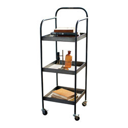 Working Class Cart - With three tray shelves and rolling caster wheels, the Working Class Cart is a practical beauty. A slim gunmetal-gray structure with just the right amount of curves allows the cart to work hard all over the home. Keep it handy in the kitchen, ready for entertaining, or use it as a side table in the living room or bedroom. It's perfect for housing a brass-toned lamp and your favorite reads.