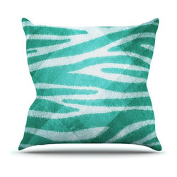 """Kess InHouse - Nick Atkinson """"Blue Zebra Print Texture"""" Throw Pillow (Outdoor, 18"""" x 18"""") - Decorate your backyard, patio or even take it on a picnic with the Kess Inhouse outdoor throw pillow! Complete your backyard by adding unique artwork, patterns, illustrations and colors! Be the envy of your neighbors and friends with this long lasting outdoor artistic and innovative pillow. These pillows are printed on both sides for added pizzazz!"""