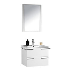 "Fresca - Cielo 24"" White Vanity w/ Mirror Cascata Brushed Nickel Faucet - The Fresca Cielo is one of the most compact vanities around.  This 24"" wall hung model comes with a ceramic sink and matching mirror.  Even small towel bars are attached to both sides of the vanity.  Many faucet models are available."