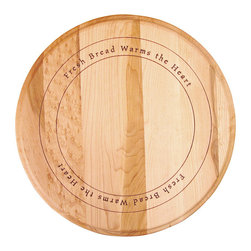 Catskill Craftsman - 'Fresh Bread Warms the Heart' Round Cutting Board - Every kitchen needs a flat grain round cutting board Cooking accessory features 'Fresh Bread Warms the Heart' inscription in a circular designAdd a new dimension to your dining experience using this reversible cutting board