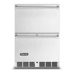 """Viking 24"""" Outdoor Double Drawer Refrigerator, Stainless Steel   VRDO1240DSS - Add handy refrigerated storage to your grilling setup. Outdoor refrigerated drawers deliver two storage spaces wherever you want them, for whatever you need. A hidden touch pad and precision temperature control - from 33 to 39 degrees F - keep food fresh and beverages chilled."""