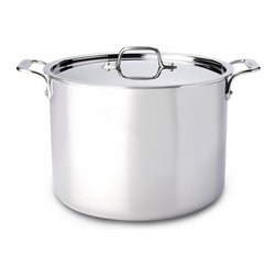 All-Clad - All-Clad Stainless Steel 12 Qt. Stockpot w/Lid - The All-Clad 6-Quart Stockpot is ideal for making stock, soups, and stews and for preparing food in large quantities. The pot's wide bottom allows for sautéing ingredients before adding liquids. This stockpot is constructed with bonded stainless steel around an aluminum core for exceptional heating, even in induction cooking. The lid lets you control evaporation as you cook. Its stick-resistant, 18/10 stainless steel interior and easy-to-grip loop handles will make this an essential tool for your kitchen. For Stocks, Soups, and Stews This stockpot features a wide bottom surface, which conveniently allows you to sauté ingredients before adding liquids. The pot's size and design is also suited for canning, blanching, and preparing large meals. This 12-quart pot has two cast stainless steel handles and a lid for controlling evaporation. Premium Stainless Steel Construction Classic design, high performance, and lifetime durability unite in the Stainless Collection, All-Clad's most popular line of cookware. Products in the collection feature an interior core of aluminum for even heating and a high-polished, 18/10 stainless steel exterior and cooking surface for fine culinary performance. All-Clad stainless steel cookware features an interior starburst finish for excellent stick resistance. The bottom of each pan is engraved with a convenient capacity marking.