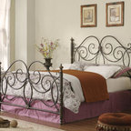 "Coaster - Traditional Queen Size Headboard & Footboard - This traditional styled metal headboard and footboard comes in a dark bronze finish. It features elegant curved design with center motifs.; Traditional Style; Dark Bronze finish; No assembly required.; Dimensions: 86""L x 60.5""W x 55""-38""H"