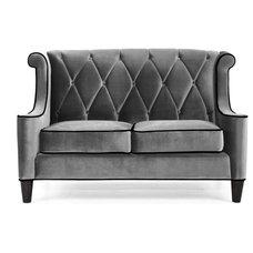 Contemporary Furniture Armen Living Barrister Gray Velvet Loveseat Multicolor - LC8442GRAY