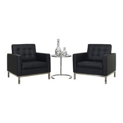 LexMod - Florence Style Leather Armchairs and Eileen Gray Side Table Set in Black - A style so classic you will recognize it instantly, this beautiful set will fill your living room with joy. Each piece is crafted for optimum comfort and fashion. Furnish your space with the best of modern classics.
