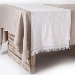 "Pom Pom at Home - Pom Pom at Home Jules Cream Runner Set of 2 - Pom Pom at Home transforms everyday experiences with sumptuous linen accessories that embody a lived-in elegance for a little touch of luxury. Create a comfortable atmosphere and a chic look with the Jules table runners. Embellished with simple stitching and an unfinished edge for added texture. Sold as a set of 2. Made from 100% linen. Machine wash, tumble dry low.  Set of 2. 21"" x 59""."