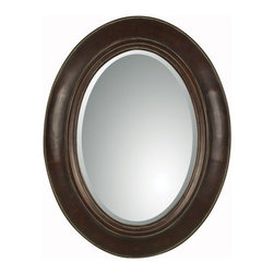 "Uttermost - Tivona Beveled Oval  Mirror - Uttermost 07011 B Grace Feyock Tivona Oval MirrorThis handsome oval mirror features a distressed dark chestnut finish over a genuine copper panel with a light verdigris glaze.  Mirror features a generous 1 1/4"" bevel. Matching console table is item #26051.Features:"