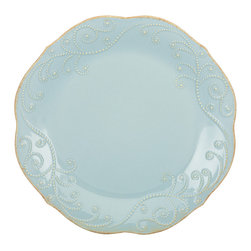 Lenox - Lenox Ice Blue French Perle Dinner Plate - This French Perle dinner plate from Lenox is distinguished by an ice-blue beaded motif and is durable enough for everyday use. A tea-stain distressed finish around the plate's beaded edge beautifully complements the plate's soft blue hue.