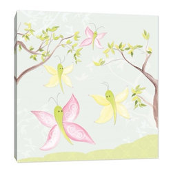 "Doodlefish - All-a-Flutter - All-a-Flutter is an 18"" square stretched canvas. The blue background has silhouettes of branches. The painting features spring branches with pink, green and yellow butterflies. This piece is available with and without personalization."