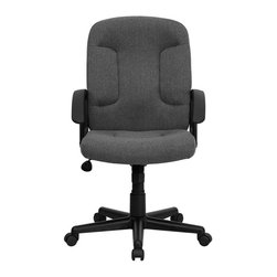 Flash Furniture - Flash Furniture Mid Back Chair with Nylon Arms in Gray - Flash Furniture - Office Chairs - GOST6GYGG - Affordably priced fabric upholstered office chair provides a warm and inviting feel while performing work related offices or browsing the internet. The mid-back design makes it a perfect desk chair especially for smaller work spaces but still doesn't compromise on its appeal and features. [GO-ST-6-GY-GG]