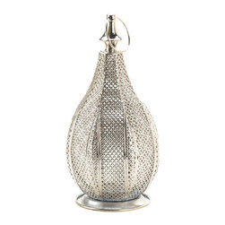 "Gifts And More - Metal Rattan Lantern - Look no further for a stunning candle accessory that will instantly increase the style factor in any room.  Our metal rattan lantern features a stunning pear-shaped design with an intricate rattan-style woven pattern that will enhance the beauty of candlelight. Candle not included.  2.50"" round ring at top for hanging."