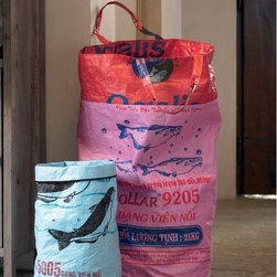 Rice & Feed Laundry Bag - VivaTerra - For a colorful addition to the closet, this hamper can't be beat. The eco-friendly bag is made by disabled and disadvantaged villagers in Cambodia from durable fabric originally used in feed and rice bags.