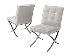 Great Deal Furniture - Modern White Leather Dining Chair, Set of 2 - Adept at maneuvering tight spaces, light on their feet and superbly elegant, these graceful, white leather dining chairs add just a bit of modern polish to your table. In fact, they can accommodate guests in the living room, study or office as an accent chair, too.