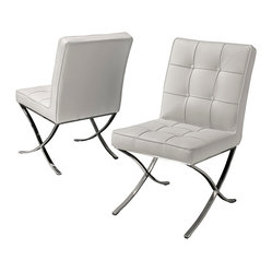 Modern White Leather Dining Chair, Set of 2