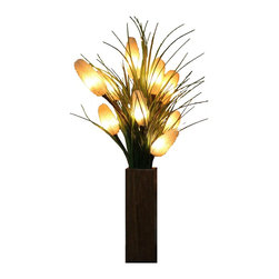 The Firefly Garden - Wetland Wonder - Illuminated Floral Design, Fruitwood Vase - Orange bursts of light inside Cattails create the essence of Wetland Wonder, inspired by the mystical mood of wetlands around the world. This 20 inch tall contemporary arrangement brings the beauty of lighted Cattails and grasses to create a unique visual focal point for a space in your home.