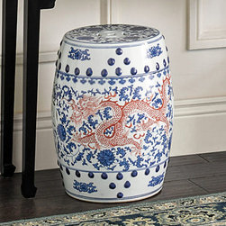 Lucky Dragon Garden Stool - I love the red imperial dragon on this blue and white Chinese garden stool.