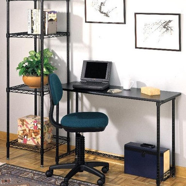 """Metro Shelving - Open Credenza & Wire Shelf Tower Student Set - Simple and highly efficient, this work station set lets you work smarter in just the right amount of space.  It's especially intelligent for those who prefer laptops and LCD monitors but need a little extra shelf space on its innovative wire construction. * Set includes desk return/open Credenza, and towerMade of 18 gauge steel which holds up to 500 Lbs. per shelf3/4"""" diameter posts1"""" shelf snake height. 3/4"""" Thick black laminate topRounded cornersWrap-around T-molding for added protectionUnits include leveling feetExisting baskets and hooks are compatibleShelves adjust on 1"""" incrementsNo tools required for assemblyWire design minimizes dust accumulation and allows ventilation for stereos and other electronic equipment20 Year warrantyLeveling feet adjust to accommodate uneven floorsDesk: 16 in. D x 45 in. W x 30 in.Tower: 18 in. D x 18 in. W x 62 1/2 in. H"""