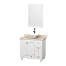"Wyndham Collection - 36"" Acclaim White Single Vanity w/ Ivory Marble Top & Pyra White Porcelain Sink - Sublimely linking traditional and modern design aesthetics, and part of the exclusive Wyndham Collection Designer Series by Christopher Grubb, the Acclaim Vanity is at home in almost every bathroom decor. This solid oak vanity blends the simple lines of traditional design with modern elements like beautiful overmount sinks and brushed chrome hardware, resulting in a timeless piece of bathroom furniture. The Acclaim comes with a White Carrera or Ivory marble counter, a choice of sinks, and matching mirrors. Featuring soft close door hinges and drawer glides, you'll never hear a noisy door again! Meticulously finished with brushed chrome hardware, the attention to detail on this beautiful vanity is second to none and is sure to be envy of your friends and neighbors"