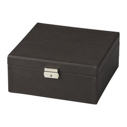 Butler Furniture - Lido Black Leather Storage Case - This spacious Storage Case is meticulously upholstered in textured brown leather with a silver-finished, lockable latch.