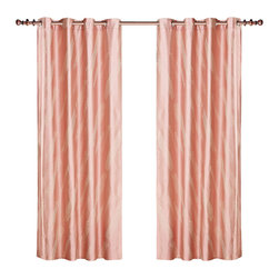 Dolce Mela - Dolce Mela DMC460 Window Treatments Damask Drapes Capri Curtain Panels - Bring the utmost style and elegance to any room with these luxury linen drapery panels featuring  beige  jacquard polka dot scrolling patterns on a shiny pink background that create a peaceful and pleasant decor.