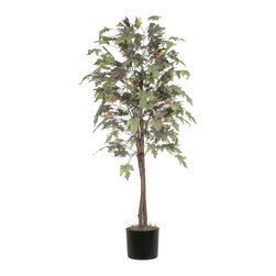 Vickerman - 6' Frosted Maple Tree - 6' Frosted Maple Tree natural hardwood trunks, in Black Plastic Pot and American made excelsior