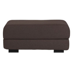 max mocha felt ottoman - flip top. Smart square serves as extra seat, footrest, coffee table…and surprise, flips open to a twin-sized sleeper. Uber soft, mocha felted wool-acrylic blend over comfy foam. Top rounds sleek at the corners; fabric hinge opens, fabric tab fasteners keep it closed neat. Floats on solid wood espresso-stained square feet.- Hardwood frame- Seat cushion is polyfoam- Wool-poly blend fabric: mocha- Twin bi-fold mattress- Espresso stained feet- Made in Denmark- See dimensions below