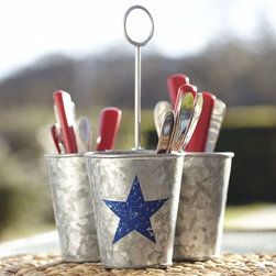 Galvanized Metal Star Condiment Set - This galvanized utensil holder could also double as a vase — stick cups inside for water and then fill with flowers.