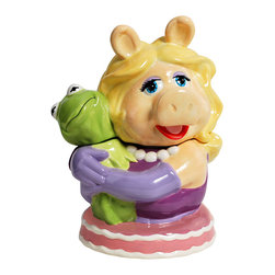 The Muppets - Miss Piggy & Kermit Cookie Jar - How cute! Muppet duo Miss Piggy and Kermit house crisp cookies in this fan-favorite jar. Constructed from durable, food-safe materials and equipped with a pop-off top, it keeps tasty treats fresh and safe from sticky fingers.   7.25'' W x 11.25'' H x 8.88'' D Ceramic Hand wash Imported