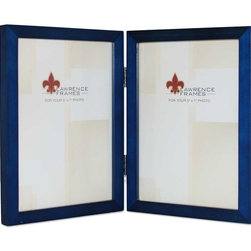 "Lawrence Frames - 5x7 Hinged Double Blue Wood Picture Frame - Gallery Collection - This wood picture frame is the same you will find in studios and galleries and is the perfect frame for simply and elegantly framing any image.  It is a high quality wood frame joined in the corners with a ""spline"" joint.  The molding is approximately 1 2 "" and is the perfect frame to use for a wall gallery.  This picture frame comes individually boxed, and includes high quality black backing with hangers for wall mounting."
