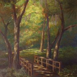 "Original Tropical Landscape Painting - Foot Bridge - Foot Bridge is an original 36""x24"" tropical landscape acrylic painting on gallery wrap canvas of a nearby walking path in Sarasota. The warm afternoon sun shines through the trees and spreads a dappled pattern of sunlight over the plants, grass and foot bridge."
