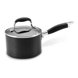 Anolon - Anolon Advanced 2 Quart Hard Anodized Nonstick Saucepan - A saucepan, one of the workhorses of the kitchen, is used for everything from cooking sauces or rice to re-heating soup or chili. The pan's made of hard-anodized, a material preferred for its even heat distribution, giving you even heating throughout pan, even up the sides. The nonstick cooking surface means you don't need to worry about food sticking or about scrubbing dirty pans - cleanup is a breeze. - Capacity: 2 Quarts.  - Weight: 4 lbs.