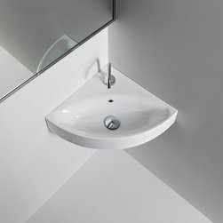 "WS Bath Collections - Cento 17.7"" 17.7"" Wall/Counter Corner Sink - Cento by WS Bath Collections Bathroom Sink, Wall-Mounted or Vessel (Counter Top) Installation, With One Faucet Hole Centered In Ceramic White, Designed by Marc Sadler, Made in Italy"