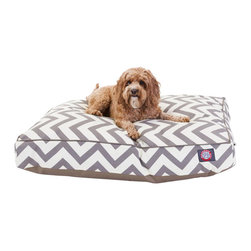 MAJESTIC PET PRODUCTS - Santorini Chevron Rectangle Pet Bed - This stylish rectangular pet bed looks great in any room of your house and is filled with ultra-plush fiberfill for luxurious napping. The removable zippered slipcover is made from outdoor-treated, UV-protected polyester for durability, and the base is made from heavy-duty waterproof 300/600 denier fabric that can go inside or out. Spot clean the slipcover and hang dry. Comes in a variety of colors and patterns, so you can pick the one that complements your decor.