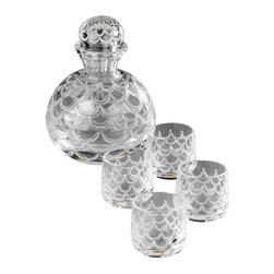 IMPERIAL COURT, INC. - Roly-Poly Vodka Set Decanter & 4 Vodka Glasses - This whimsical crystal vodka set is expertly copper-wheel engraved by highly skilled craftsmen in St. Petersburg, Russia. The engraved design is a close adaptation of famous Pine Cone Egg. The set includes a vodka decanter and four vodka shot glasses with rounded bottoms.