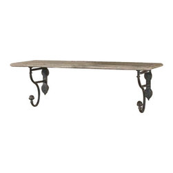 Uttermost Gualdo Aged Wood Shelf - Aged wood shelf with metal details finished in a rustic olive bronze. Aged wood shelf with metal details finished in a rustic olive bronze.