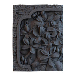 Vintage Maya - Tung Tree Flower Wall Plaque - Bring your walls to life with these graceful blossoms. Handcrafted from charcoal bamboo and ceramic, this stately wall plaque will add a touch of enlightenment to any room.