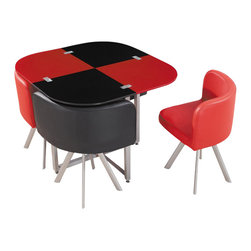 Global Furniture USA - D536DT Compact Red & Black Acrylic with Leatherette Five Piece Dining Set - The D536DT dining set has a unique modern flair in a compact design that works with any decor. The table features a black and red color scheme that coordinates with the chairs. The table top is crafted from molded acrylic making it very durable. Featuring four chairs upholstered in a beautiful leatherette in black and red. The support legs are made from metal with a silver finish. The dining set includes the dining table and four chairs only.