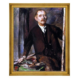 """Lovis Corinth-16""""x20"""" Framed Canvas - 16"""" x 20"""" Lovis Corinth Self Portrait at the Easel framed premium canvas print reproduced to meet museum quality standards. Our museum quality canvas prints are produced using high-precision print technology for a more accurate reproduction printed on high quality canvas with fade-resistant, archival inks. Our progressive business model allows us to offer works of art to you at the best wholesale pricing, significantly less than art gallery prices, affordable to all. This artwork is hand stretched onto wooden stretcher bars, then mounted into our 3"""" wide gold finish frame with black panel by one of our expert framers. Our framed canvas print comes with hardware, ready to hang on your wall.  We present a comprehensive collection of exceptional canvas art reproductions by Lovis Corinth."""