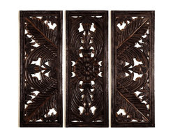 Woodland Imports - Set of 3 Carved Wood Wall Panels Rich Brown Fern Floral Home Decor - Attractive set of 3 carved wood wall panels in rich dark brown with beautiful fern and floral design details home decor