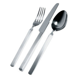 """Alessi - Alessi """"Dry"""" 5 Piece Cutlery Set - Room for one more at the table? Now you can add another flatware setting with this five-piece cutlery set by Achille Castiglioni. Consisting of one table fork, one table spoon, one table knife, one dessert fork and one coffee spoon, this mirror-finished set is dishwasher safe and features satin handles."""