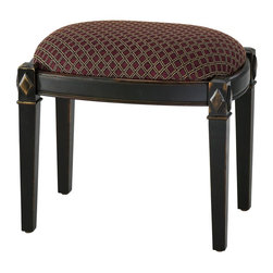 Cyan Design - Cyan Design Bailey Stool X-96720 - Carved diamond shaped accents are highlighted in a beautiful Distressed Ebony finish on this classic Cyan Design stool. From the Bailey Collection, the dark tones of the body pair beautifully with the gold and red coloring of the fabric seat, completing the look.