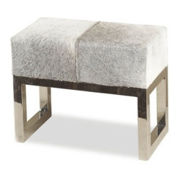 Interlude - Moro Hide Stool - Stainless steel legs and a natural hide seat makes the Moro Hide Stool a chic choice.