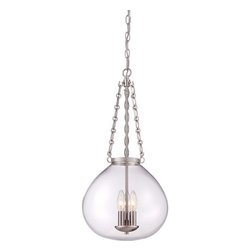 Quoizel - Bridgeport Brushed Nickel Three-Light Pendant - - A classic hanging pendant, Bridgeport is simple lighting done right. The clear glass bowl maximizes light output and it is available in two finishes, Brushed Nickel and Western Bronze.  - Cord Length: 8 Feet  - Chain Length: 48-Inch  - Bulb is not included Quoizel - QF1777BN
