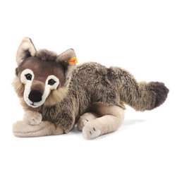 Steiff - Steiff Plush Snorry Dangling Wolf - Steiff Snorry Dangling Wolf is made of cuddly soft grey and brown woven plush. Steiff Snorry Dangling Wolf is lying down. Machine washable. Ages 3 and up. Handmade by Steiff of Germany.