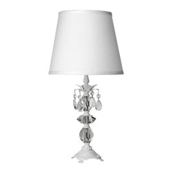 """Maura Daniel - Maura Daniel Berlin Matte White Small Table Lamp - Free Shipping!   Maura Daniel offers the home artistic expression through an inspired, one-of-a-kind lighting collection. The medium Berlin table lamp offers the transitional living room or bedroom classic elegance. Accenting a hand-painted matte white brass frame featuring traditionally influenced detailing and intricate leaf embellishments, clear crystals shine with lasting sophistication. Accepts 75W max bulb (not included). Available with three different shades.: 13""""W x 24""""H"""