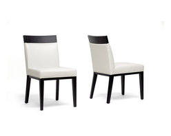 Wholesale Interiors - Clymene Black Wood and Cream Leather Modern D - Set of 2. Contemporary dining chair . Black wood frame . Cream bonded leather . Non-marking feet . Made in China . Fully assembled. 19.25 in. L x 25 in. W x 34.6 in. H (14 lbs)