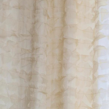 "Drapery Street - Feathery Silk, Champagne, 45"" x 130"" long,  designer knife pleat - A soft flowing fabric that combines the beauty of silk with a feathery silk applique.  Available in 3 colors."