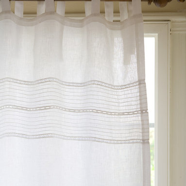 """Taylor Linens - Elisa Linen Voile White Curtain Panel - Sweet little pintucks and a tiny touch of lace grace the top of this sheer linen voile curtain panel. The perfect curtain for a more tailored room. 100% Linen Voile. White. 42""""x84"""""""